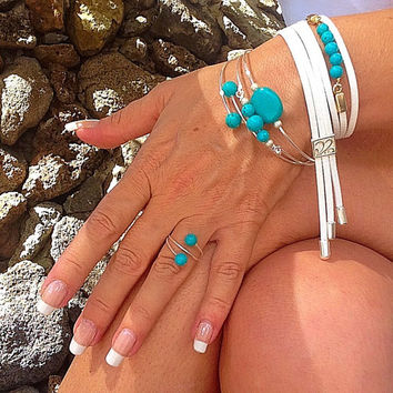 The entire hand!  sash bracelet, white suede bracelet, turquoise bangles, cuff, unique, leather bracelet, boho, casual, vegan