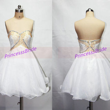 Short white tulle homecoming dress in 2014,unique gold beaded  prom gowns on sale,cheap cute women dresses for holiday party.