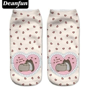 DCCKHG7 Deanfun New 3D Printed Pusheen Love Women Socks Cute Low Cut Ankle Sock Multiple Cartons Fashion Style NW08