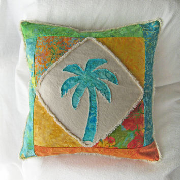 Quilted patchwork palm tree boho pillow cover, with aqua teal, green, yellow, and orange batiks and natural distressed denim 20""