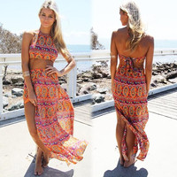 Summer 2 piece set bohemian print crop top and high slit maxi skirts beach cover up