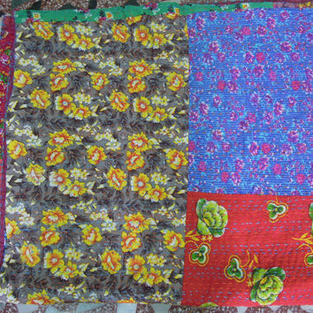 Floral Patchwork Kantha Quilt Bedspread Blanket made with Cotton Sarees - Ethically Handmade in India