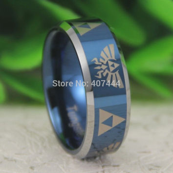 Free Shipping USA UK Canada Russia Brazil Hot Sales 8MM Blue Silver Beveled LEGEND Of ZELDA Men's Fashion Tungsten Wedding Ring