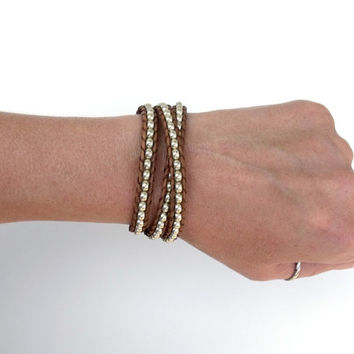 Brown Leather Silver Triple Wrap Bracelet Mens Womens Boho Hipster