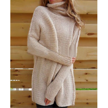 Sexy New Fashion 2016 Autumn Women Fashion Turtleneck Long Sleeve Off Shoulder Solid Casual Loose Sweater knit hedging WG303