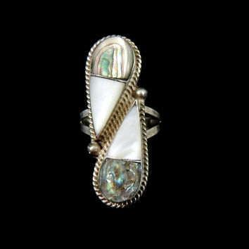 Vintage Abalone Mother of Pearl Taxco Ring Sterling Silver