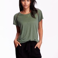 Old Navy Womens Relaxed Mesh Seam Tops