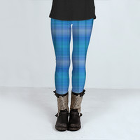 Shades of Blue Plaid by Christy Leigh (Leggings)