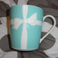 "Tiffany & Co. Bow Ribbon Blue Cup Mug Coffee Bone China 3.5"" DISCONTINUED RARE"
