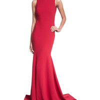 Sleeveless V-Back Mermaid Gown, Size: