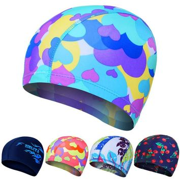 Swimming Caps Elastic Lovely Women Kids Cartoon Fabric Cute Print  Animal Protect Ears Boys Girls Swim Pool Caps Hat