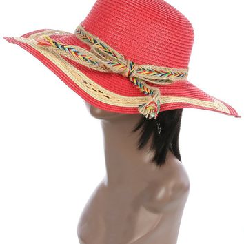Braided Color Yarn Trim Floppy Straw Hat And Cap 38