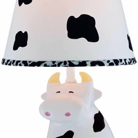0-030411>1-Light Moo Cow Table Lamp Ceramic