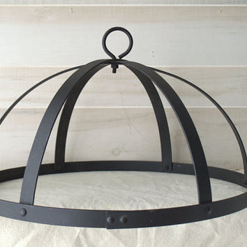 Rustic Black Wrought Iron Pot Rack or Pendant Light Base