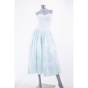 80s vintage scott mcclintock strapless seafoam formal gown, 1980s blue lace fashion prom dress, spring summer 2014 urban retro retrofit