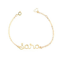 Gold Personalized Name Custom Wire Bracelet - 14K Gold Filled - Charm Bracelet - Sterling Silver Name Bracelet