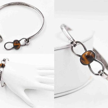 Vintage Maricela Sterling Silver Tiger Eye Bangle Bracelet, Ysidro Garcia Pina, Taxco, Tasco, Childs, Small Woman, Very Nice! #b971