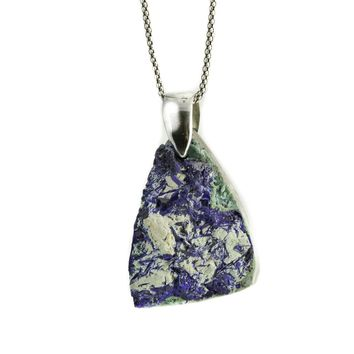 Sterling Silver Azurite Druzy Necklace