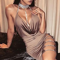 New 2018 Women Sexy Cocktail Club Dresses Bandage Bodycon Cut Out Sleeveless V neck Party Short Mini Dress