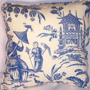 "Waverly Blue and White  Toile Throw Pillow Williamsburg Asian Arcadia Sapphire 18"" Square  Linen Oriental Welted Insert Included Ready Ship"