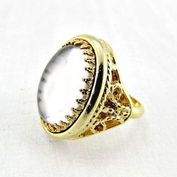 Vintage MOOD Ring, Gray Glass Cabochon Ring, Gray Moonstone Ring, Gold Filigree Ring, 1970s Vintage Retro Hippie Jewelry