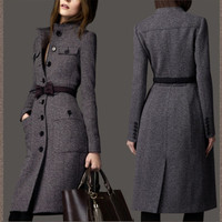 New Women Lapel Wool Cashmere Long Winter Parka Coat Trench Slim Outwear Jacket