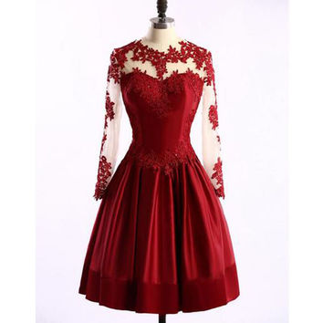 Long Sleeve Short Lace  Prom Dresses Evening Dresses