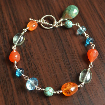 Blue and Orange Bracelet, Carnelian Blue Topaz Turquoise Fluorite Spessartite Garnet Gemstones, Sterling Silver Jewelry, Free Shipping