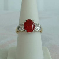 Lind Red CZ Oval Cut Ring Size 7.5 - 7.75 Cocktail Ring Heavy Goldplated 1980s Vintage Jewelry