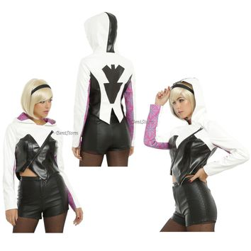 Licensed cool Spider-Gwen Women of Marvel Faux Leather Jacket with Hood Her Universe JRS L XL