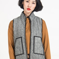 Gray Stand Collar Pocket Zip Padded Waistcoat