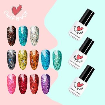Gelfavor 7ml Star&Moon Series Glitter 12 Colors Gel Nail Polish Nail Art UV LED Soak-Off Nail Gel Polish
