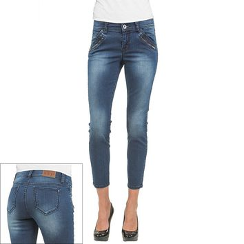 S&P by Standards and Practices Zipper-Hem Skinny Ankle Jeans, Size: