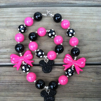 Christmas Sale Hot Pink Black Polka Dot Minnie Mouse Chunky Bubblegum Necklace/Bracelet Set