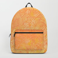 Ombre yellow and orange swirls doodles Backpacks by Savousepate