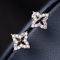 Curved Square Rhinestone Earrings