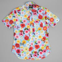 gitman brothers vintage - short sleeve button down shirt flowers and butterflies photoshop print