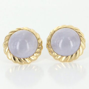 Vintage 14k Yellow Gold Lavender Jade Button Stud Earrings Estate Fine Jewelry