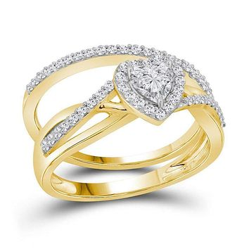 14kt Yellow Gold Womens Heart Diamond Bridal Wedding Engagement Ring Band Set 7-8 Cttw