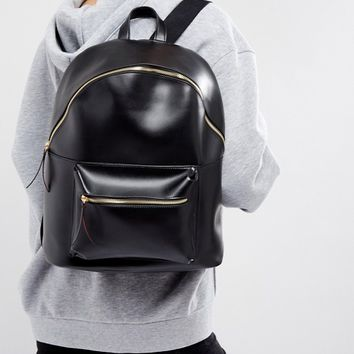 Pieces Leather Look Back Pack at asos.com