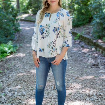 Tatum Floral Top, Ivory/Blue