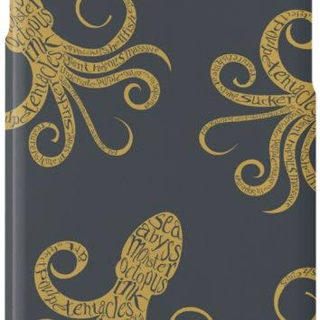 'Golden Octopus Typography' iPhone Case/Skin by SpiceTree