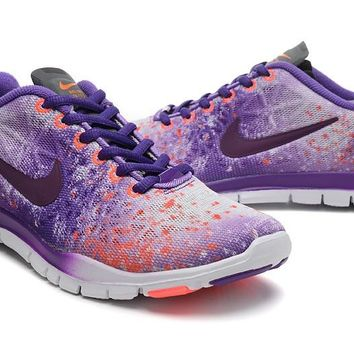 Women's Nike Free TR FIT 3 Print Camo Limited Training Shoes Purple/Mango