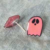 Pastel Goth Pink Ghost Earrings