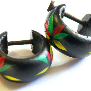 Earrings hoops Piercing wood Wooden Earrings ethnic rasta reggae bob marley Jamaica