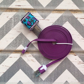 New Super Cute Jeweled Purple/Turquoise Cheetah Print Wall USB Connector + 10ft Flat Purple IPhone 5/5s/5c Cable Cord
