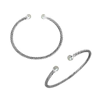 AB-1075-PE Sterling Silver Bangle With Pearl
