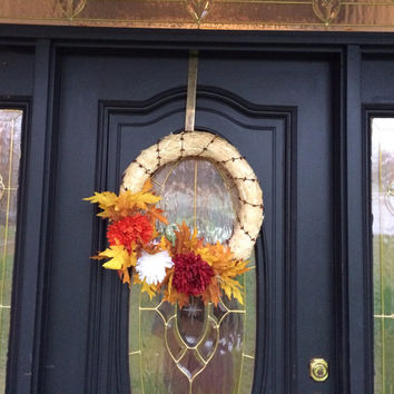 "Fall Wreath Straw Mums Maple Leaves Berries 22"" Thanksgiving Red Yellow Orange Brown Bright"