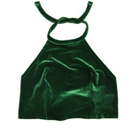 Evergreen Velvet Halter Top