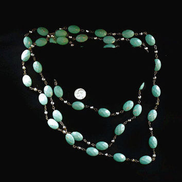 Long Turquoise and Copper Colored Bead Necklace 70 Inches Long